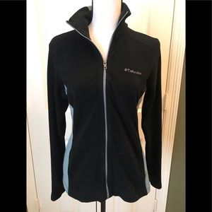 Columbia black/grey fleece/knit warmup jacket, S